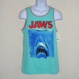 new JAWS Tank Top, S, Aqua, Shark, Swimmer, Logo